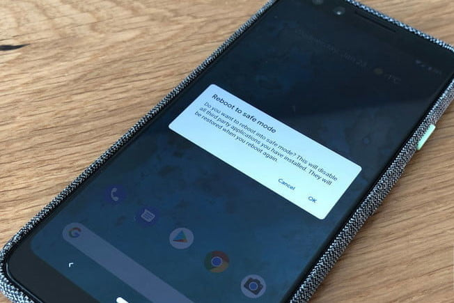 A Pixel 3 phone with Android safe mode enabled.