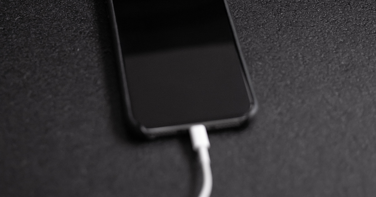 iPhone charging with lightning cable