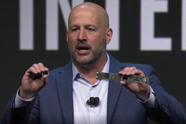 man presenting processor