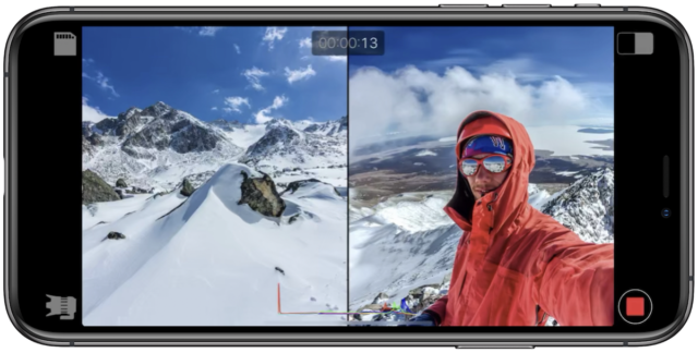 iPhone record 2 cameras at once