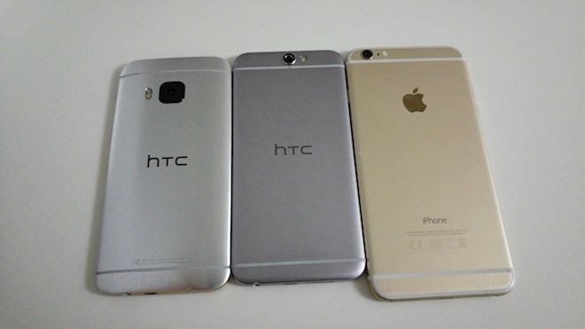 The HTC One A9 is more similar (in design) with the iPhone 6 than with the HTC One M9