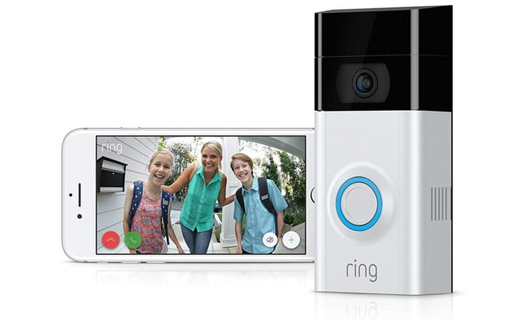 Videotimbre ring next to a smartphone