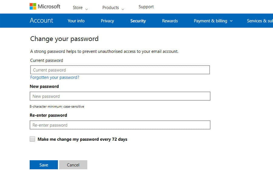 Outlook security screen
