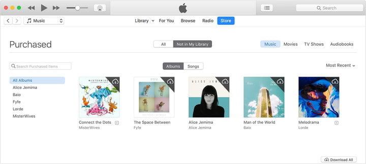 ITunes screen selecting songs