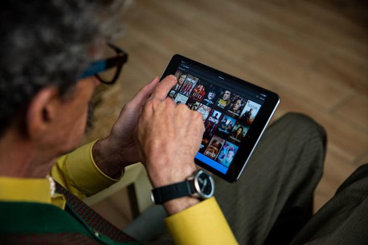 Senior adult using Netflix platform
