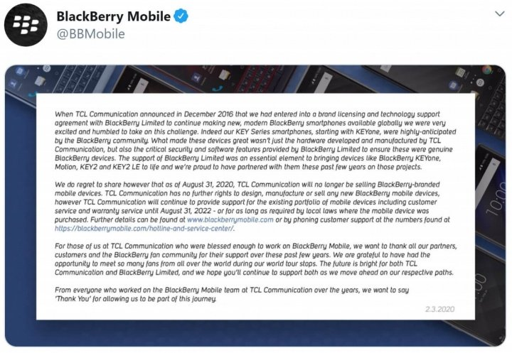 Image - BlackBerry stops manufacturing mobile phones: TCL abandons the brand