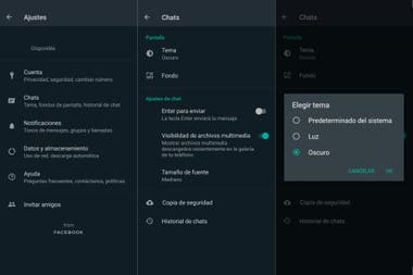 This is how you make the settings to activate the dark mode in WhatsApp