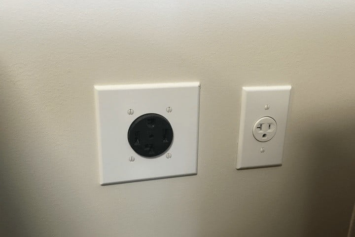 Photograph of sockets for gas dryers vs. electric dryers