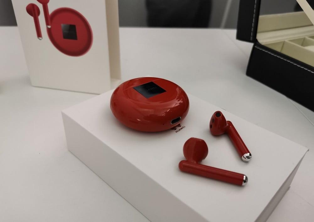 huawei freebuds 3 headphones in red