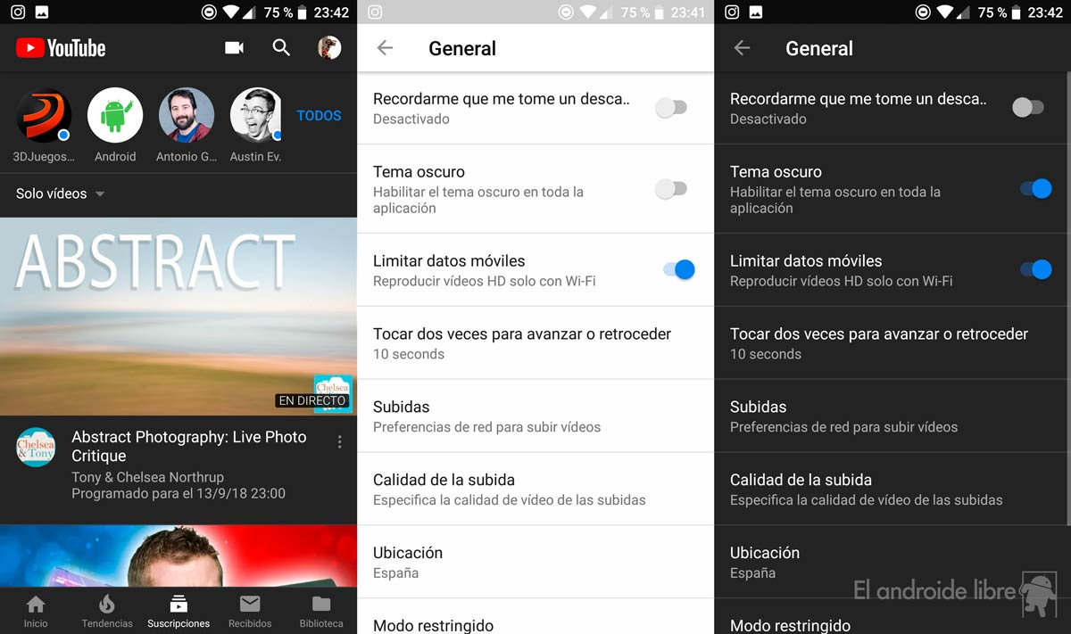 YouTube for Android activates the dark theme for everyone