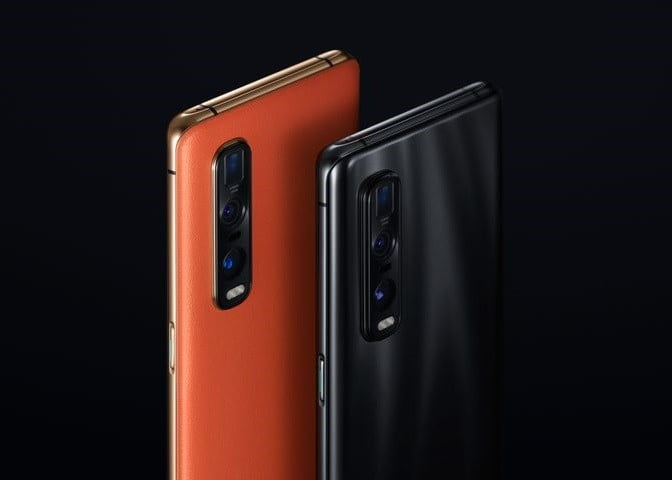 two Oppo Find X2 Pro phones, one orange and one black, showing the triple camera