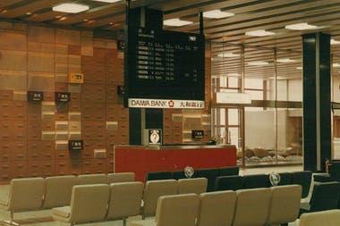 A board at Osaka airport, Japan, in 1965