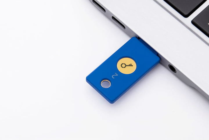 Yubico Security Key inserted in a laptop