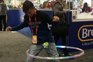 Damian Camarillo tries a new hula hoop