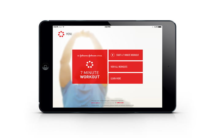 The Johnson & Johnson Official 7 Minute Workout app interface
