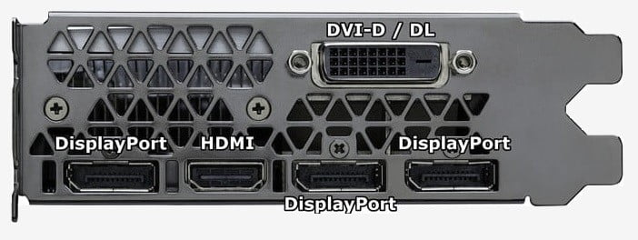 Video output connectors from a discrete graphics card