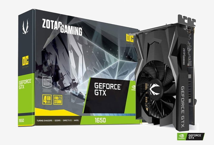 The best compact graphics card for video editing: Nvidia GTX 1650 Mini ITX seen in its typical green packaging