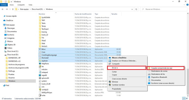Windows 10 File Explorer with the option to compress multiple files