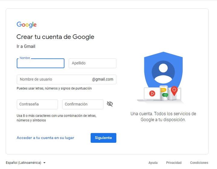 Google screen to create an account