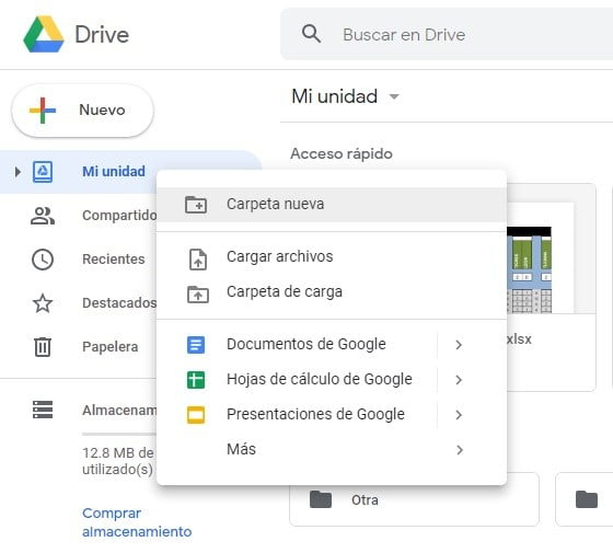 Google Drive My Drive Screen