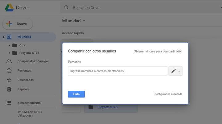 Google Drive file sharing screen