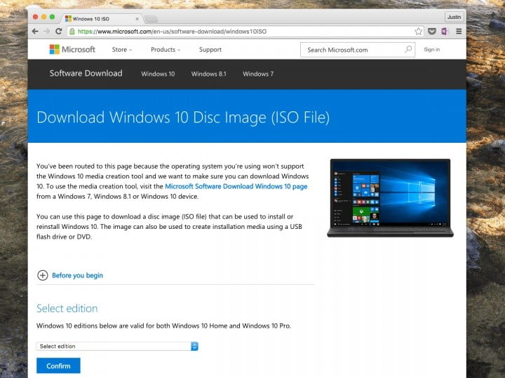 Image from the web to download the Windows 10 ISO