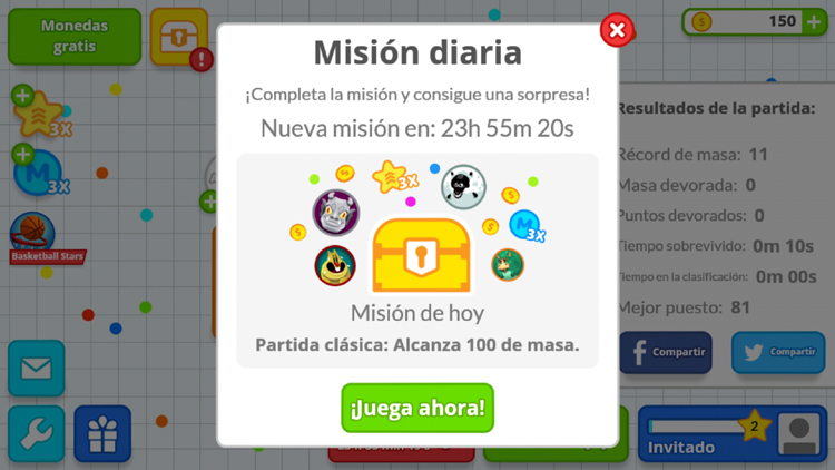 Acceleration and daily missions in Agar io for Android
