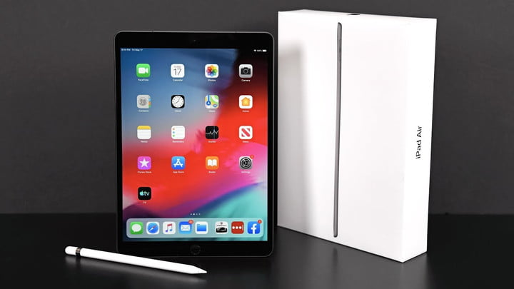 iPad Air next to its box