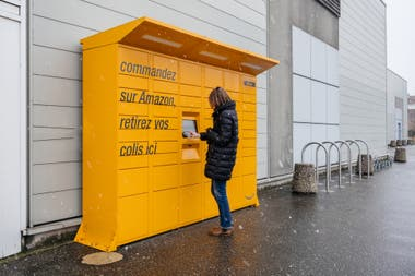 One of the order delivery points of the Amazon Locker system in Strasbourg, France