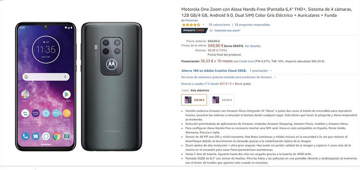 Motorola One Zoom on Amazon