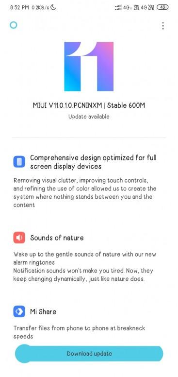 MIUI 11 update for Redmi 8