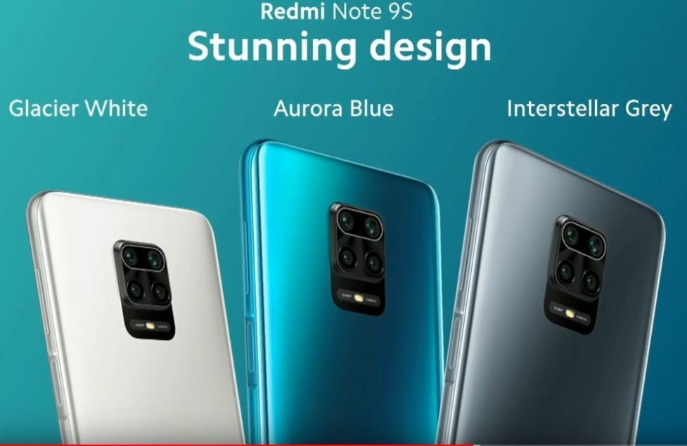 redmi note 9S, in blue, white and gray