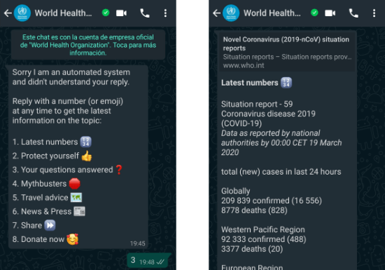 Image - WHO Bot on WhatsApp about the coronavirus: add it