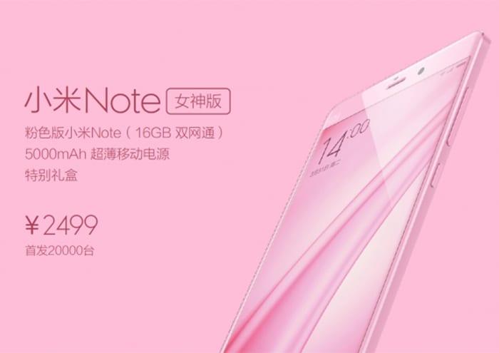 Xiaomi Mi Note rosa directo al público femenino