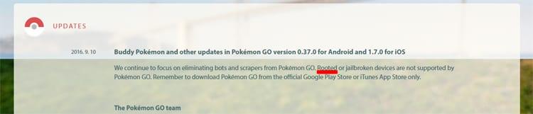 The root in Pokémon GO 0.37