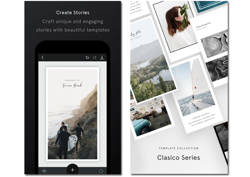 """Presentation images of the application to create Instagram Stories Unfold """"width ="""" 800 """"height ="""" 568 """"srcset ="""" https://www.funzen.net/wp-content/uploads/2020/04/1586966409_56_The-best-apps-to-create-photo-montages-on-Android.png 800w, https://androidayuda.com/app/uploads-androidayuda.com/2019/03/Unfold-300x213.png 300w, https://androidayuda.com/app/uploads-androidayuda.com/2019/03/Unfold-768x545 .png 768w, https://androidayuda.com/app/uploads-androidayuda.com/2019/03/Unfold-630x447.png 630w, https://androidayuda.com/app/uploads-androidayuda.com/2019/03 /Unfold-468x332.png 468w """"sizes ="""" (max-width: 800px) 100vw, 800px"""